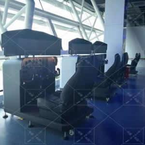 航空科普教学版支架式飞行模拟器-双座三屏全仪表模拟器